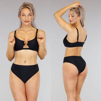 Schwarz mit hohen Taille Bikini mit Ring
