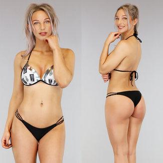 Schwarz Push-Up Halter-Bikini-Print