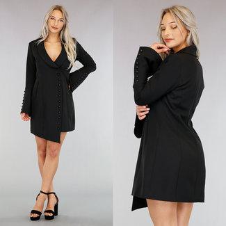 Asymmetrische Kleid Schwarzer Blazer Buttons