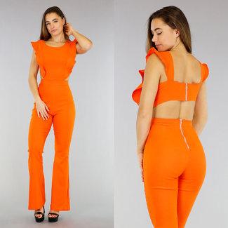 Flair orangefarbener Overall mit Plissee-Details