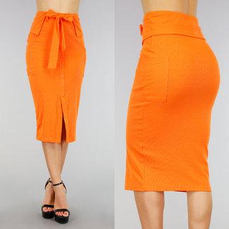 Orange Rib mit hohen Taille Rock mit Zierknöpfen