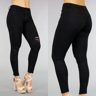 Schwarz Medium Taille Jeans mit Rissen