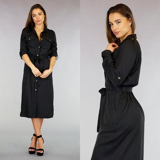 !XSALE Lässig Schwarz-Hemd-Kleid mit Knöpfen