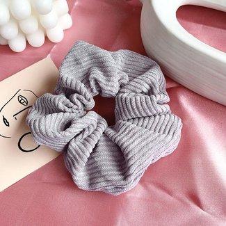Grey Velvet Rib scrunchie