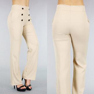 Beige Hose mit breiten Beinen und Buttons
