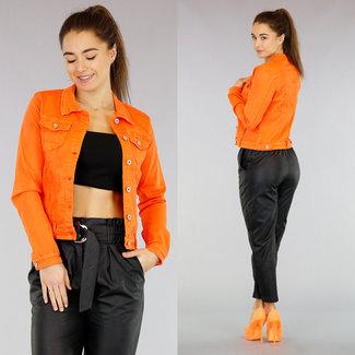 Basic Orange Jeansjacke mit Stretch