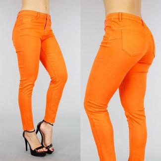Basic Orange Regular Taille dünne Jeans