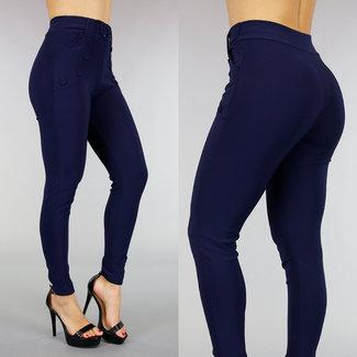 Blau Stretch Hose mit dekorativen Knöpfen und Schnalle