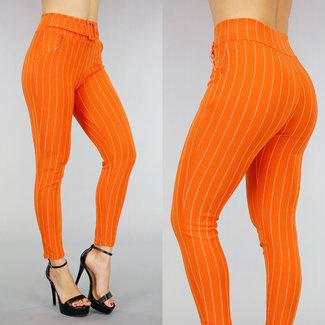 Elastische Orange gestreifte Hose mit dekorativer Schnalle