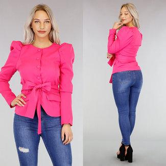 !OP=OP Pinkfarbene Puff Jacke mit Hüftband
