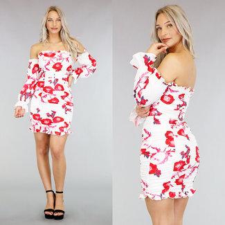 Weiß Off-Shoulder-Kleid mit roten Blumen