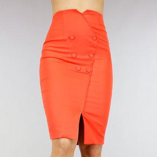 Orange mit hohen Taille Rock mit Sierk öffnen