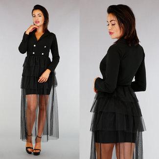 Classy Schwarzes Kleid Plissee Tüllrock