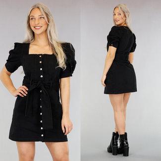 Black Denim-Kleid mit kurzen Ärmeln Pof