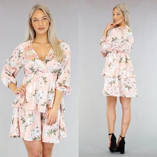 NEW0403 Satin-Blumen-Druck-Kleid mit Overlay