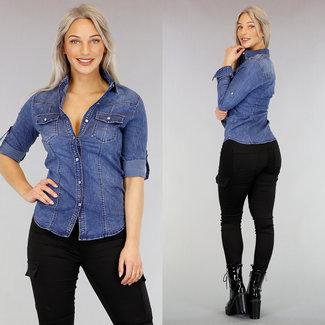 !OP=OP Dark Blue Jeans-Bluse