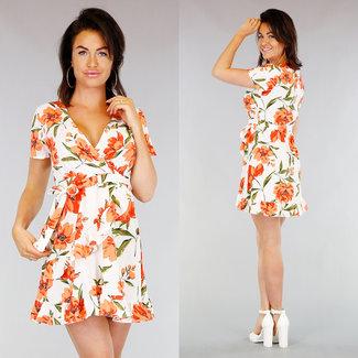 NEW0403 Weiß gefaltete Blumendruck-Kleid