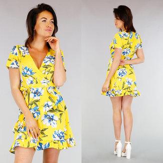 NEW0403 Gelb Plissee Blumendruck-Kleid
