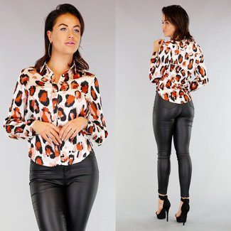 NEW0403 Ecru Lose Fit Leopard Bluse