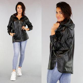 NEW1103 Schwarz-Leder-Blick Raincoat