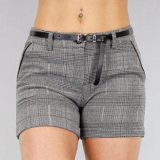 NEW1103 Checkered Medium Taille Shorts mit Gurt