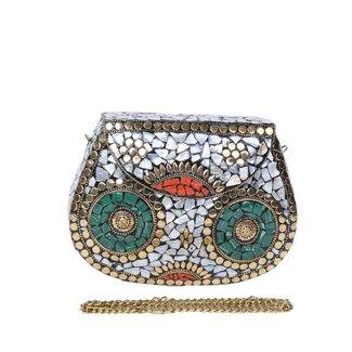 NEW1103 Bunte Mosaik Metal Cross Body Bag