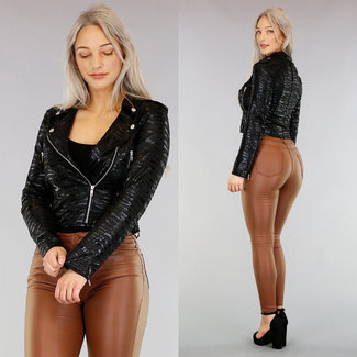 Schwarz Glänzender Zebra-Druck-Jacke