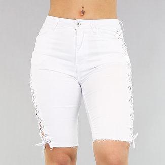 Weiße Jeans Bermuda mit Schnürsenkeln