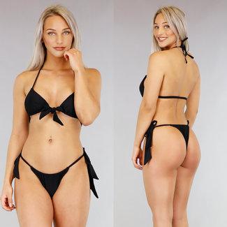 Schwarz Triangel-Bikini mit Bögen