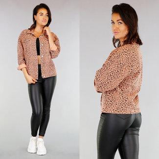 NEW1103 Rosa in über Cheetah Jeansjacke