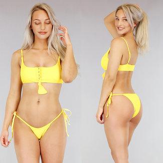 NEW1103 Yellow Bikini mit Druckern und Button