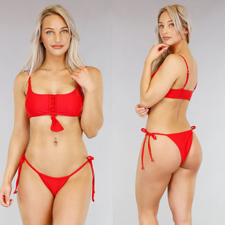 !SALE70 Red Bikini mit Druckern und Button