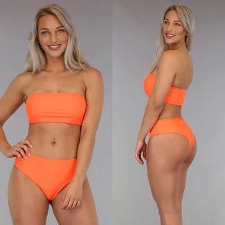 High Waist orange Bandeau-Bikini