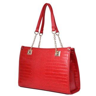 Schauen Sie Croco Red Leder-Handtasche