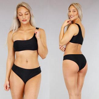 Basic High Waist eine Schulter Bikini Schwarz