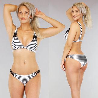 NEW1103 Gestreifte Bikini mit Riemchen