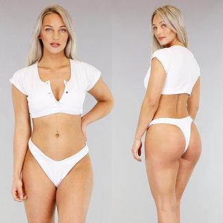 Weiß Rib Bikini mit Ärmeln
