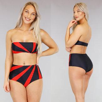 !SALE70 Schwarz / Rot mit hohen Taille Bandeau-Bikini