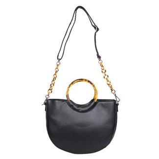 Halbrund Schwarz-Leder-Blick-Handtasche