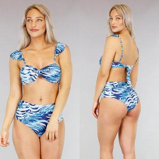 NEW1803 Netter High Waist-Blatt-Druck-Bikini