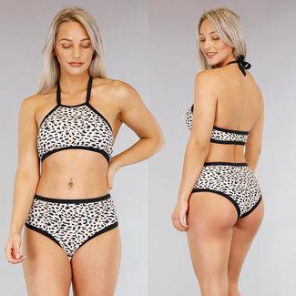 Beige mit hohen Taille Leopard Halter Bikini