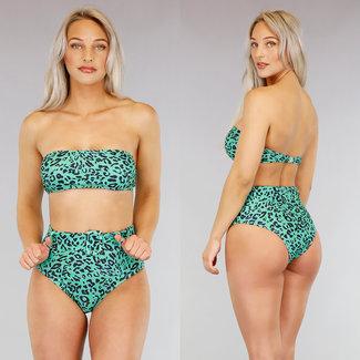 !SALE70 High Waist Grüne Leopard-Bikini