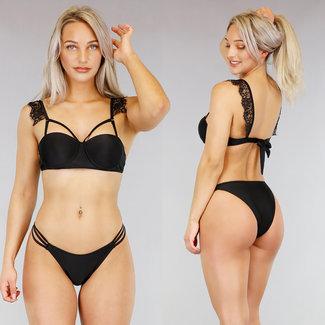 Black Bikini Bracket mit Straps und Spitze