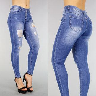 !OP=OP Mittlere Taillen-Jeans mit Rissen