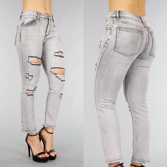 !SALE50 Grau mittlere Taillen-Jeans mit Rissen