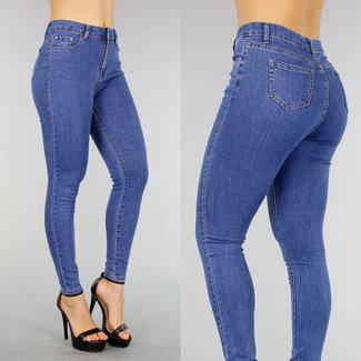Blau Hohe Taille dünne Jeans mit Stretch