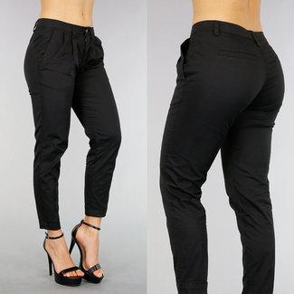 !OP=OP Schwarz Regular Waist Hose mit Plissee