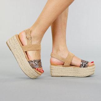 Beige Veloursleder-Plattform Sandalen mit Schläuchen Drucken