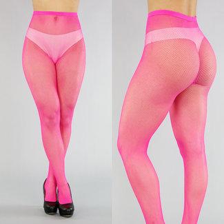 Neon Pink Kleine Netz-Strumpfhose