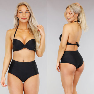 !OP=OP Schwarz mit hohen Taille Bikini Bracket Relief «f
